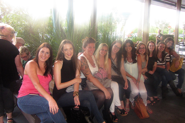 Here is part of our group waiting to be seated at dinner.