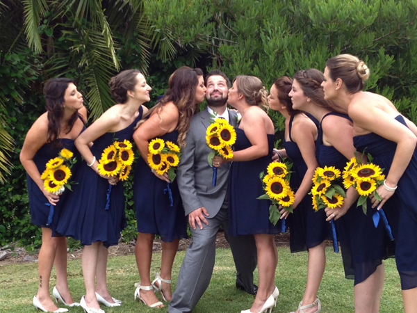 The groom and the bridesmaids.