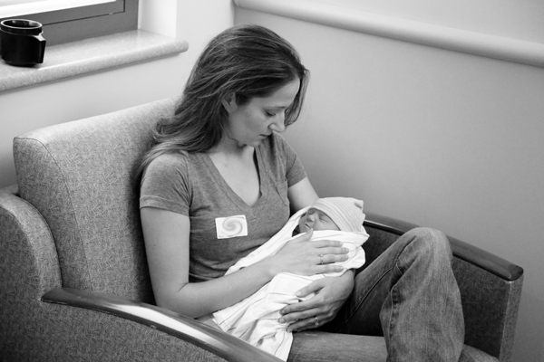 Holding the sweet little princess at the hospital.