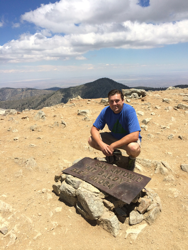David at the summit of Mount Baldy