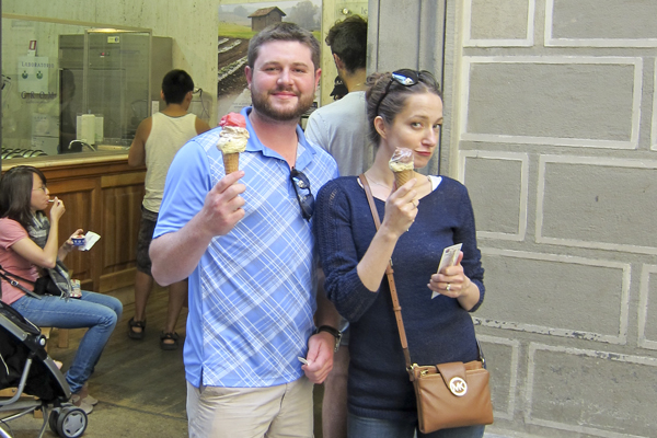 Goofing off with our gelato cones.