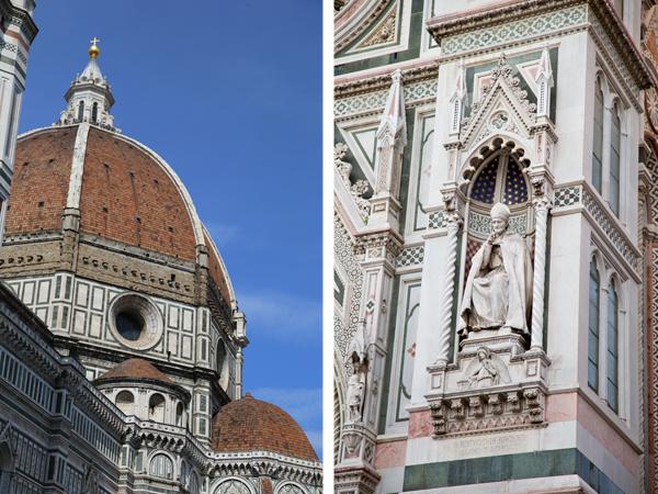 The statue on the right is of St. Antoninus (Antonio Pierozzi, Archbishop of Florence)