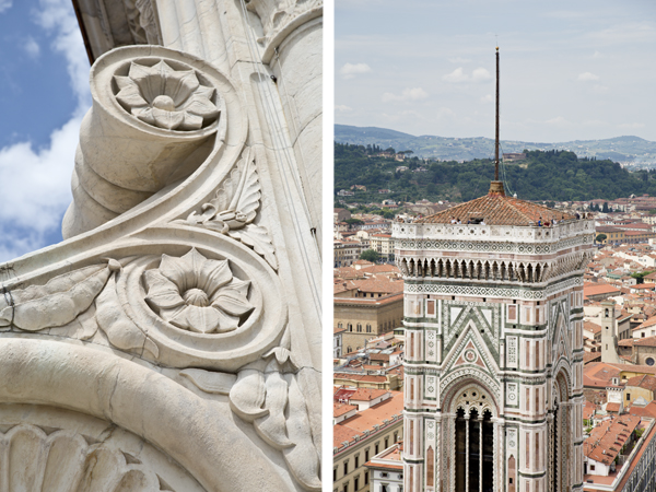 Detailing at the top of the Duomo and a view of the Giotto Campanile from the Duomo
