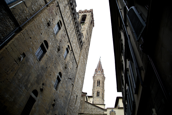 Bell tower of the Badia Fiorentina from the street.