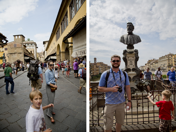 Me and Big Guy walking down Ponte Vecchio and Mat in front of the bust of famed sculptor Benvenuto Cellini