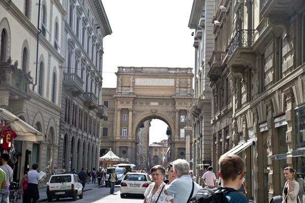 The Arch of Triumph leading to Piazza della Repubblica