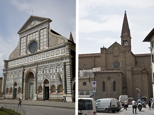 Basilica di Santa Maria Novella from the front and from the side.