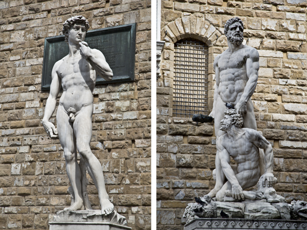 """Replica of the statue of David and the original """"Hercules and Cacus"""""""