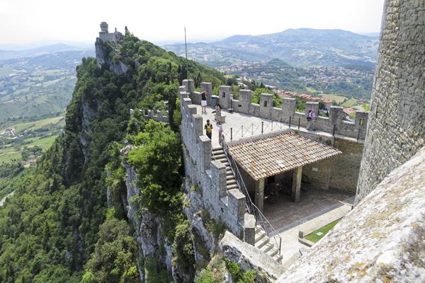 Looking out toward De La Fratta (Cesta) from the top of Castello Della Guaita