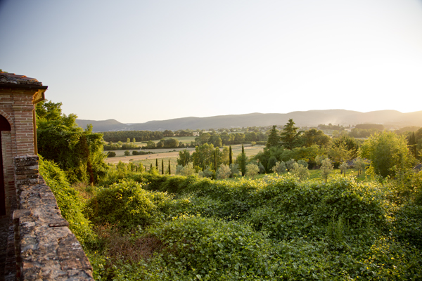 Late afternoon view of the countryside from one of the gardens