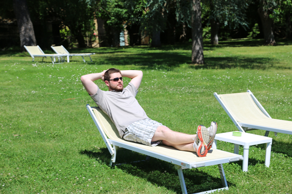 Mat relaxes in one of the gardens