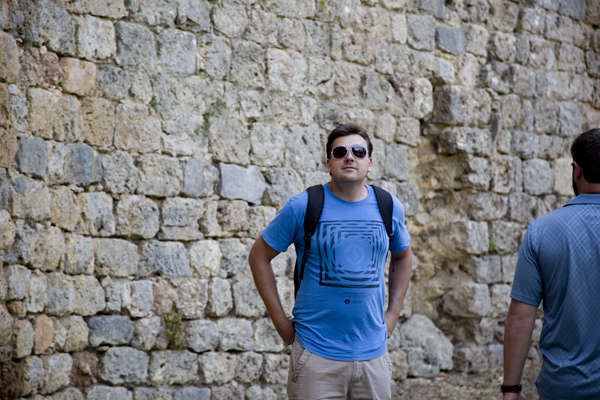 David next to the huge stone walls