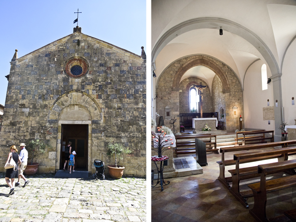 The church façade and the interior - seriously small churches are the best!