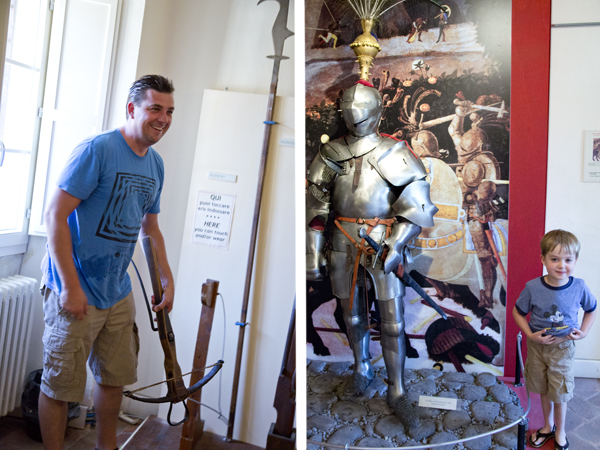 David liked trying out the weapons