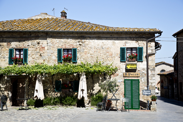 One of the restaurants lining the main piazza