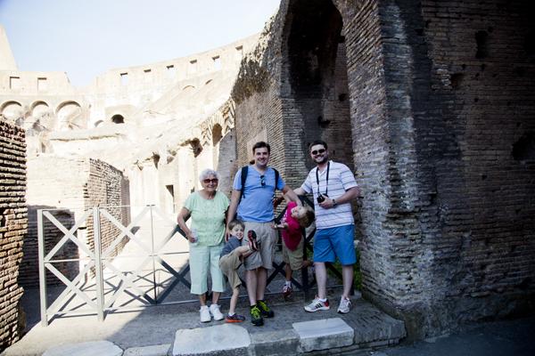 The boys were pretending to be gladiators.