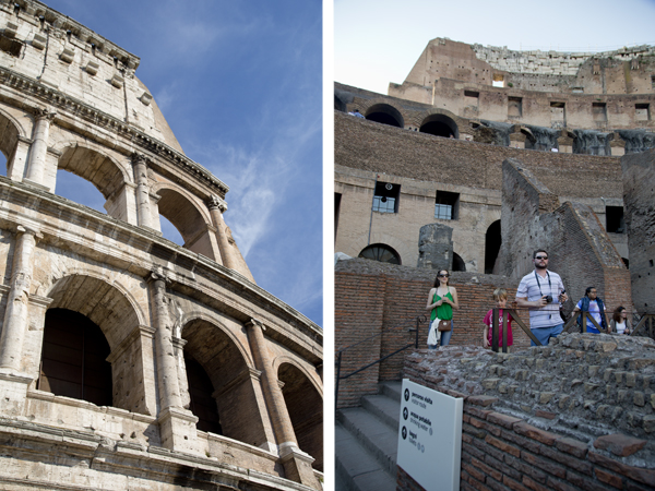 Exterior and interior of the Colosseum