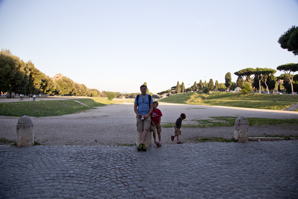David and the boys in front of the Circus Maximus