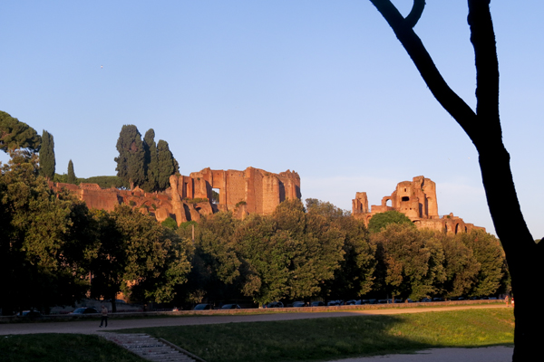 View of the ruins of the Domus Augustana on Palatine Hill from the Circus Maximus