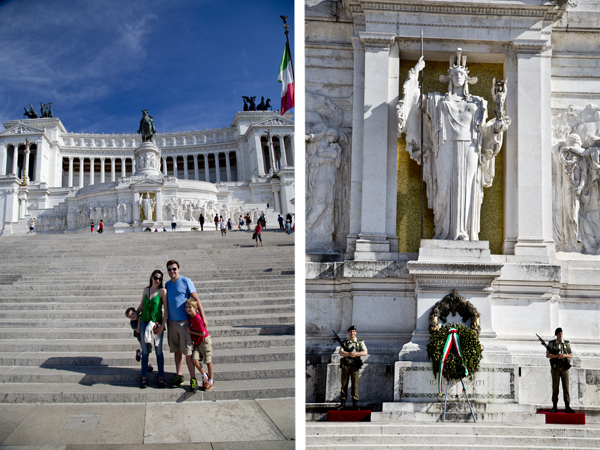 The family posing in front of Il Vittoriano and the Tomb of the Unknown Soldier