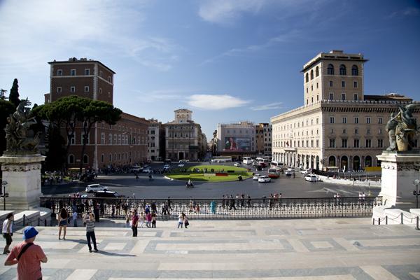 View of Piazza Venezia from the Altare della Patria