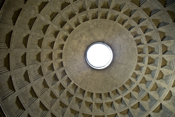 The dome and the oculus (The oculus and the door are the only sources of light in the Pantheon)