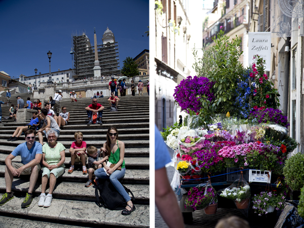 Spanish Steps and a flower cart not far from the steps.