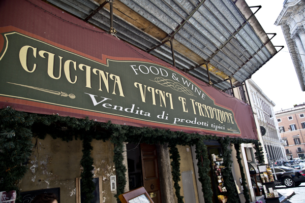 The Sign over the entrance of the restaurant