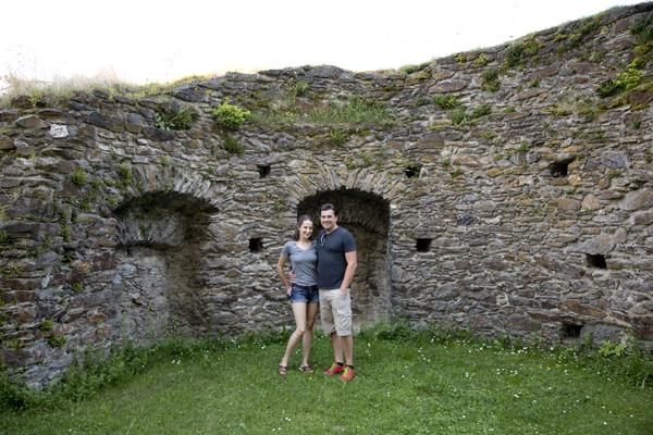 Exploring the castle walls