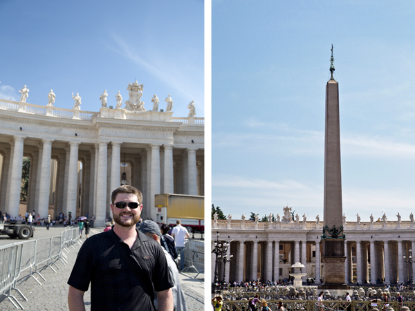 Mat standing in front of the Statues of popes and saints on the colonnade of St. Peter's Square and the Egyptian Obelisk