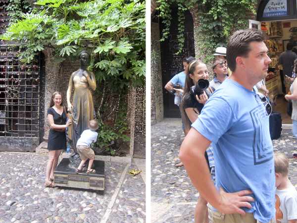 The bronze statue of Juliet in the courtyard has a shiny chest because people believe rubbing her breasts bring luck