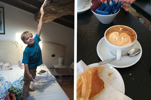 Little Man reaching for the beams and our last Italian cappuccino