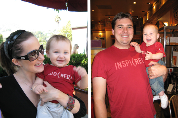 Our family wearing our (RED) gear.