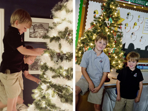 The boys decorating my tree and posing with a tree at school.