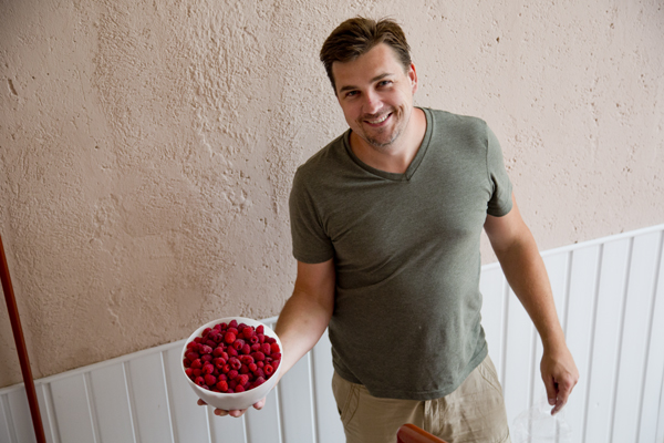 David with the large bowl of raspberries that awaited our arrival