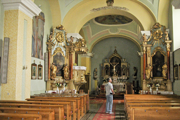 The front of the church and the altar (that's my dad, who was with us on the last trip)