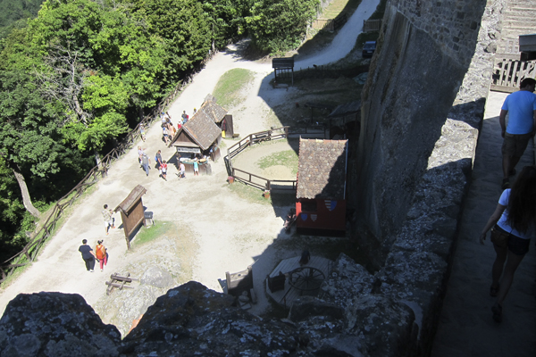 Looking down from the top of the castle tower