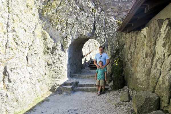 Posing by on of the castle archways