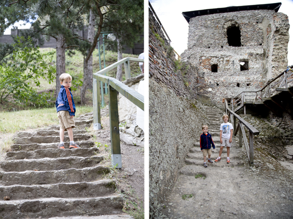 Climbing the stairs to get to the castle and climbing more stairs once inside.
