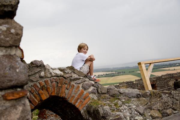 Climbing the interior castle walls.