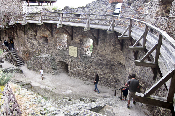 Walking along the interior walls of the castle.