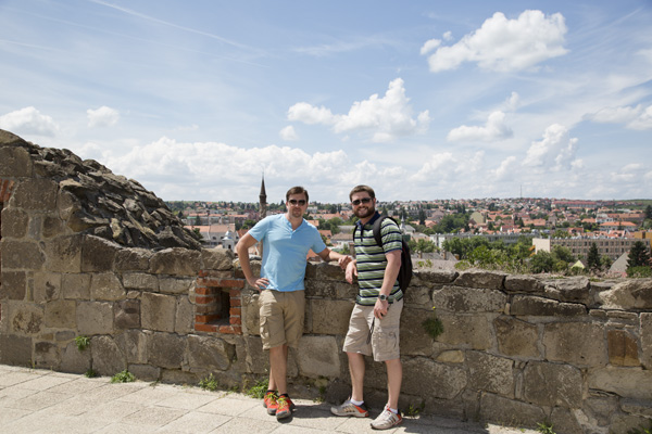 David and Mat with the minaret behind them