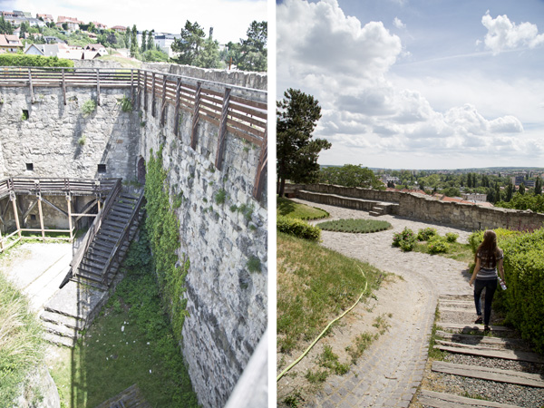 The left is part of the castle that has yet to be restored and the right is me walking through part of the castle bailey.