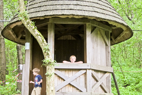 """The boys playing in what they deemed their """"play-castle"""""""