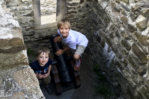 The boys with their favorite part of the castle.