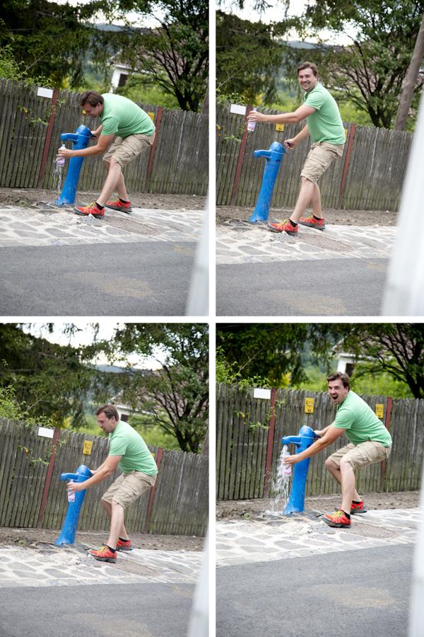 David and the water pump.