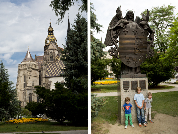 Another view of the cathedral and the boys posing with the angel.