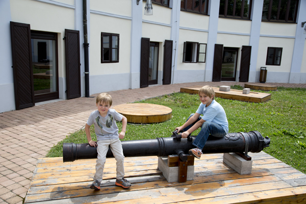 Of course, the boys found a cannon