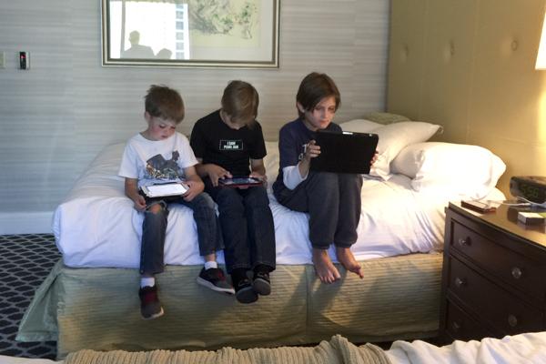 Getting their Minecraft on