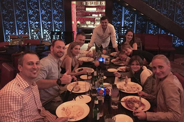 The brigade at dinner